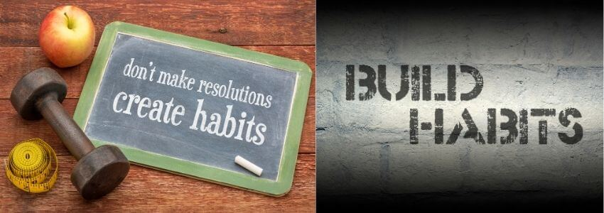 2 photos encouraging the reader to build or create millionaire habits
